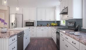 brilliant white shaker kitchen with backsplash the rta