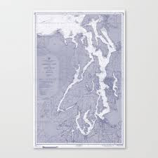 Puget Sound Chart Puget Sound Washington State Nautical Chart Map Print 1956 Blue Map Art Prints Canvas Print By Chartedwaters