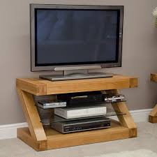 Z Solid Oak Small Designer TV Plasma Unit.