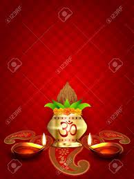 Diwali Kalash Designs Vector Pooja Kalash With Diwali Diya