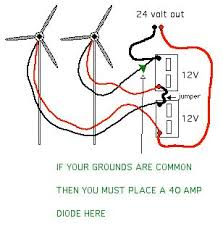 series parallel wiring for battery charging do you have low wind charing tricks for people low wind bottom right using a 24 volt rated turbine to charge 2 battery s and use a 12 volt power inverter