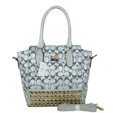 Coach Legacy Tanner In Studded Signature Small Grey Crossbody Ba