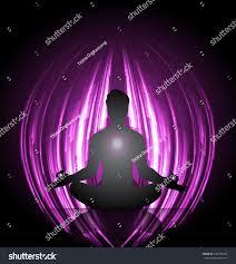 Purple Light In Meditation Man Meditation Purple Light Background Yoga Stock Vector