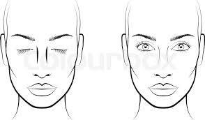 stock vector of young woman portrait face chart makeup artist blank template