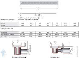 *Душевой лоток с фланцем ACO L=785мм, с сифоном, <b>решетка</b> ...