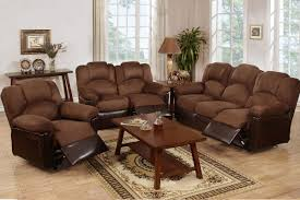 reclining living room furniture sets. Furniture Dazzling 3 Piece Living Room Set Using Suede Leather Reclining Sofa And Square Wood Sets