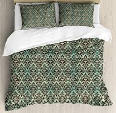 mint and brown queen size duvet cover set baroque flower motifs in damask style traditional revival art decorative 3 piece bedding set with 2 pillow shams