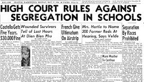 supreme court rules against school segregation high court rules against segregation in schools seattle daily times newspaper article 17 1954