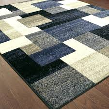 block blue gray area rug and brown