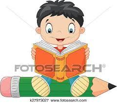 clip art cartoon little boy reading a book fotosearch search clipart ilration
