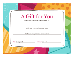 gift card template birthday gift certificate bright design office templates