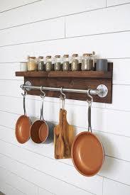 rustic industrial kitchen pot rack