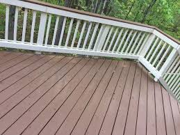 outdoor deck paint or stain. sherwin williams deck stain in pinecone and rail paint navajo white two toned color outdoor or