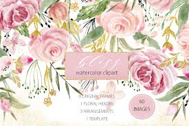 Download icons in all formats or edit them for your. Watercolor Flower Clipart Bliss 32896 Illustrations Design Bundles Watercolor Flowers Flower Clipart Watercolor Clipart
