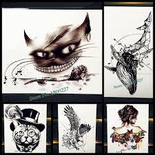 черный кот зуб водонепроницаемый временные татуировки наклейки мужчины боди арт