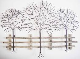 neoteric metal wall decoration art gallery design decor winter three tree scene fence branch chrome root