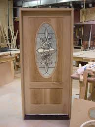 White front door with glass Exterior Custom Made White Oak Front Entrance Door With Oval Leaded Glass Lowes Hand Made White Oak Front Entrance Door With Oval Leaded Glass By