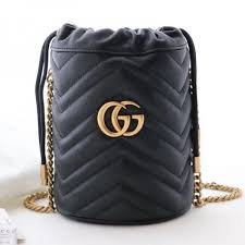 gucci gg marmont leather mini bucket shoulder bag 575163 black 2019 collection