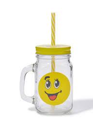 Shop Goldedge Emoji Mason Jars Design 3 Yellow 350ml online in Dubai, Abu  Dhabi and all UAE