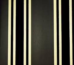 Perroquet Stripe Flock Wallpaper Charcoal and gold stripe with flock stripe  in black