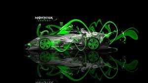 monster energy lamborghini egoista fantasy neon plastic car