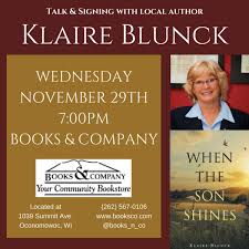 book signing flyer klaire blunck author talk book signing wednesday november 29th