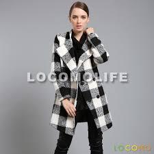 women plaid duffle double ted on pea coat black white
