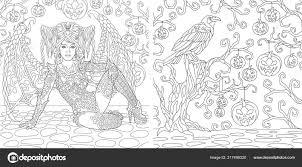 Kleurplaten Kleurboek Voor Volwassenen Heks Meisje Met Vleugels