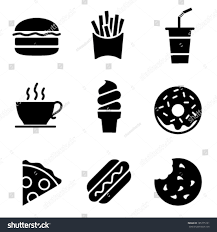 fast food clipart black and white. Plain White Simple Black And White Fast Food Icons  Vector Throughout Clipart And M