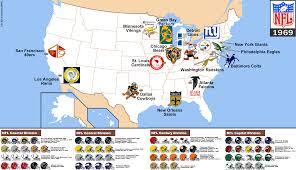 The Nfl 1969 Map Billsportsmaps Com