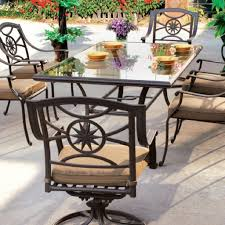 black wrought iron outdoor furniture. Black Wrought Iron Patio Furniture With Swivel Chairs And Rectangle Table Shaped Outdoor