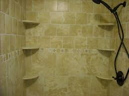 bathroom glass shower staal with wall mounted corner shelves and