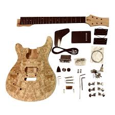 details about diy guitar kit left handed mahogany arch spalted maple veneer gdpr88l