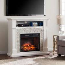 infrared electric fireplace tv stand in white with white faux stone
