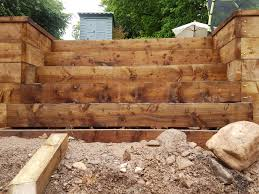 timber sleepers make a fine retaining wall