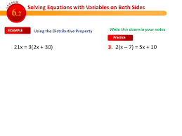 solving equations with variables on both sides 6 2