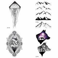25 стилей геометрический медузы поддельные татуировки для мужчин Arm пик временные