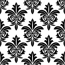 Repeats In Textile Designing Bold Foliate Arabesque Motif In Black And White In A Repeat Seamless
