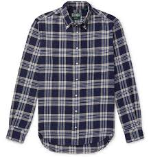 Button Down Collar Checked Brushed Cotton Flannel Shirt