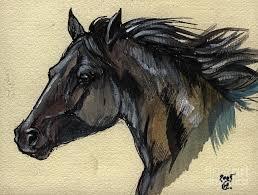 horse painting the black horse by angel ciesniarska