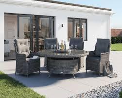 grey 4 seater large round rattan garden