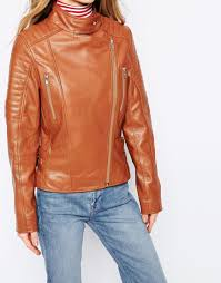 barneys originals leather biker jacket with quilting and buckle detail in brown lyst
