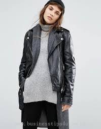 women s jackets coats goosecraft relaxed boyfriend fit leather jacket with belt 933747