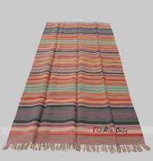 multicolor cotton striped chindi floor rug india