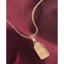 1 gram fine gold ingot 18inch chain pendant necklace american coin treasures jewelry