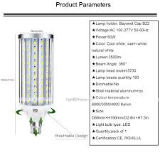 Natural White Light Kelvin Ywxlight B22 60w 6000 Lumens Equivalent To 600w Non Dimmable