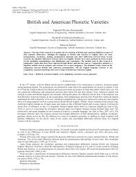 Like many other languages, english has wide variation in pronunciation, both historically and from dialect to dialect. Pdf British And American Phonetic Varieties