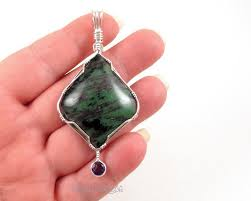 natural two stone pendant green zoisite red ruby purple amethyst sterling silver wire wrapped product