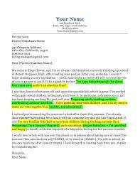 Babysitting Jobs For Highschool Students Babysitter Cover Letter Sample Tips Resume Companion