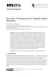 Product Design Using Value Engineering The Value Of Transparency For Designing Product Innovations